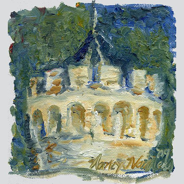 "White Original ""Castle Turret"" Framed Oil Painting by Nancy T. Van Ness For Sale - Image 8 of 13"