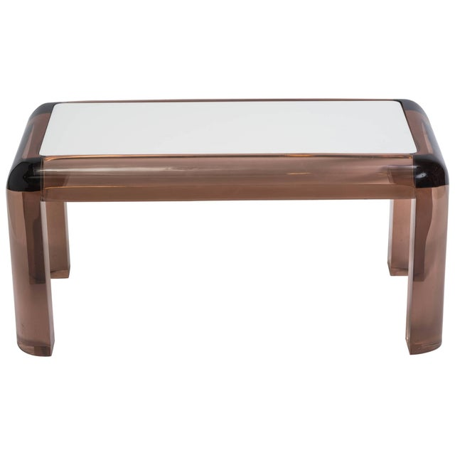 White Chunky Lucite Side or Cocktail Table For Sale - Image 8 of 8