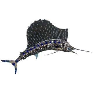 1990s Bedazzled Marlin Sailfish by American Artist Lesley Lynch For Sale