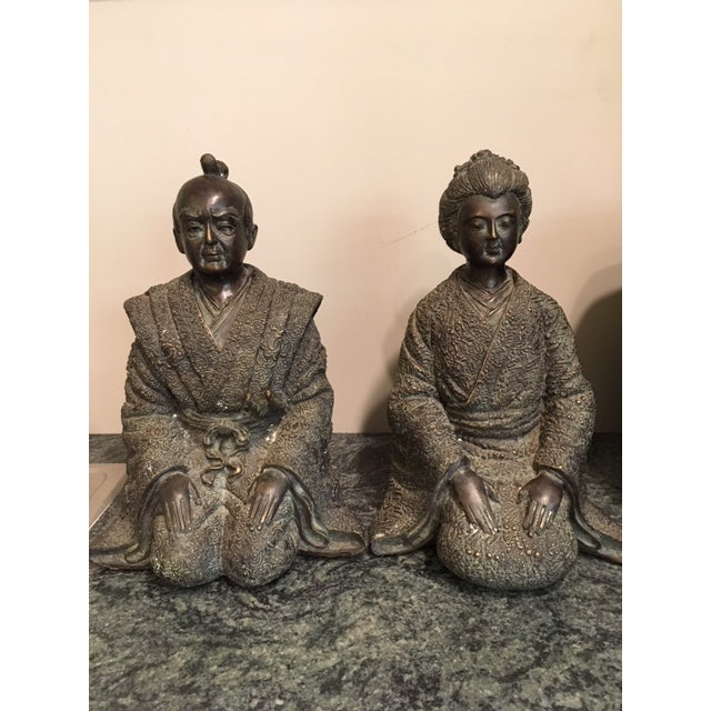Metal Pair Japanese Bronze Figures For Sale - Image 7 of 7