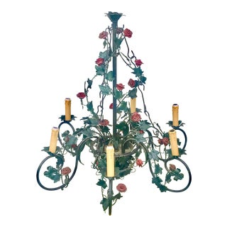Vintage Tole Rose & Ivy Six Arm Chandelier