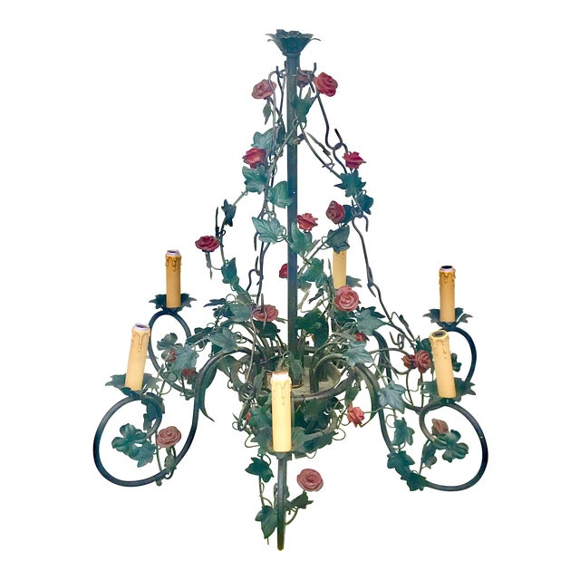Vintage Tole Rose & Ivy Six Arm Chandelier For Sale