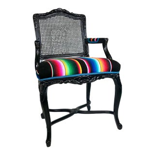 1960s Vintage French Black Enameled Arm Chair For Sale