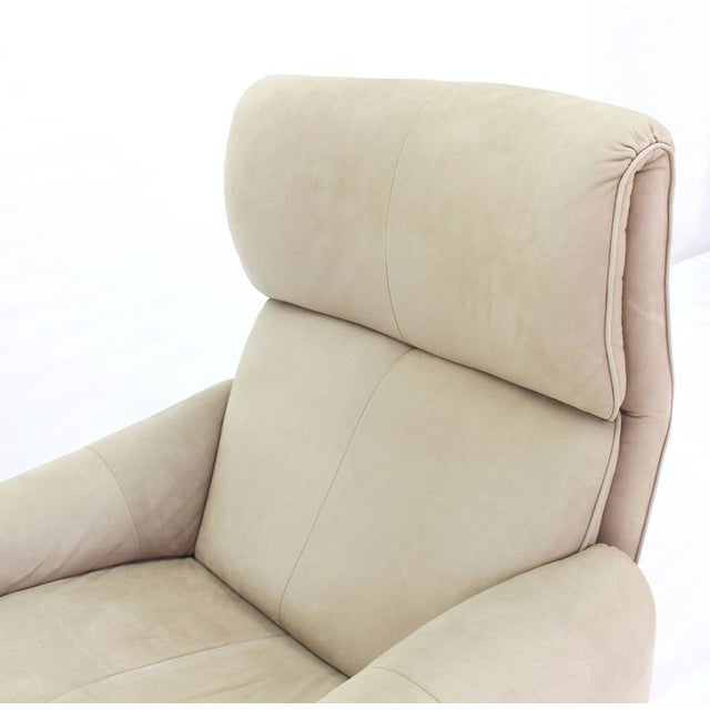 Early 20th Century Beige Suede Leather Lounge Chair with Matching Ottoman For Sale - Image 5 of 10
