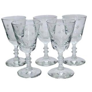 French Fleur-de-Lis Liqueur Glasses - Set of 5