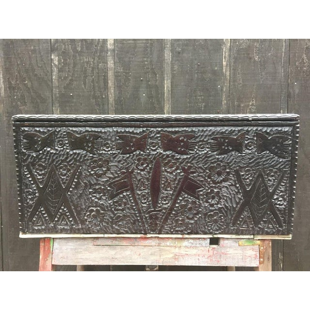 Folk Art Masonic Iconography Hand Carved Chest For Sale - Image 3 of 10