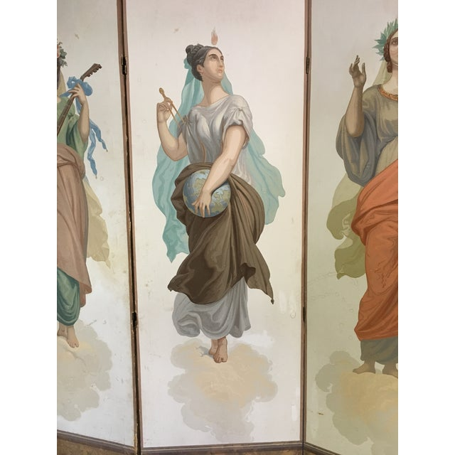 Antique Zuber Attr. Wall Paper Four Panel Screen - Image 6 of 11