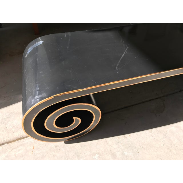 Mid 20th Century Black and Gold Lacquer Scroll Coffee Table For Sale - Image 5 of 11
