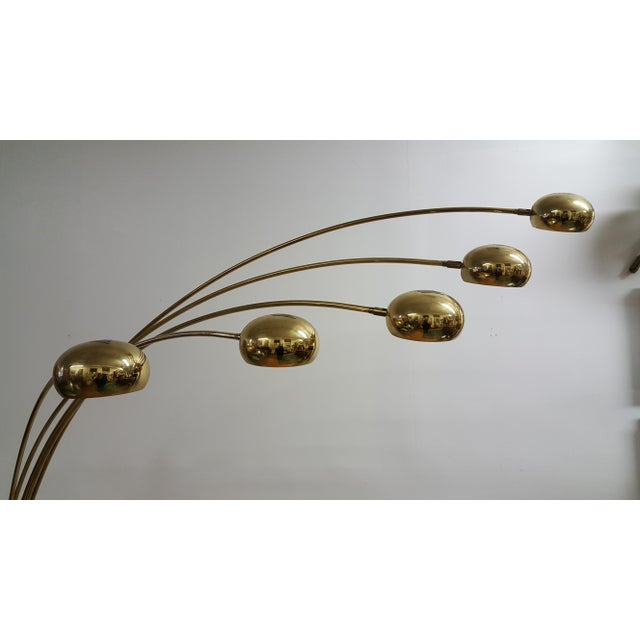 Mid Century Brass Standing 5 Arm Arc Lamp With Marble Base - Image 5 of 7