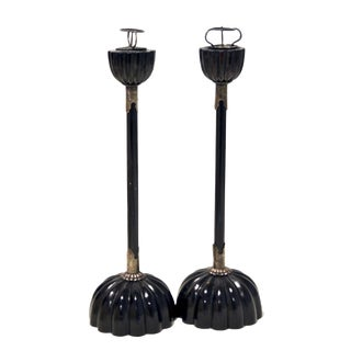 Antique Japanese Lacquer Small Candlesticks For Sale
