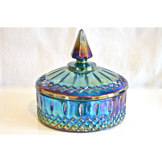 Blue Luster Lidded Carnival Glass Bowl - Image 2 of 4