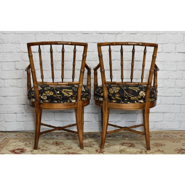 Drexel Heritage Drexel Heritage Faux Bamboo Chairs - A Pair For Sale - Image 4 of 11