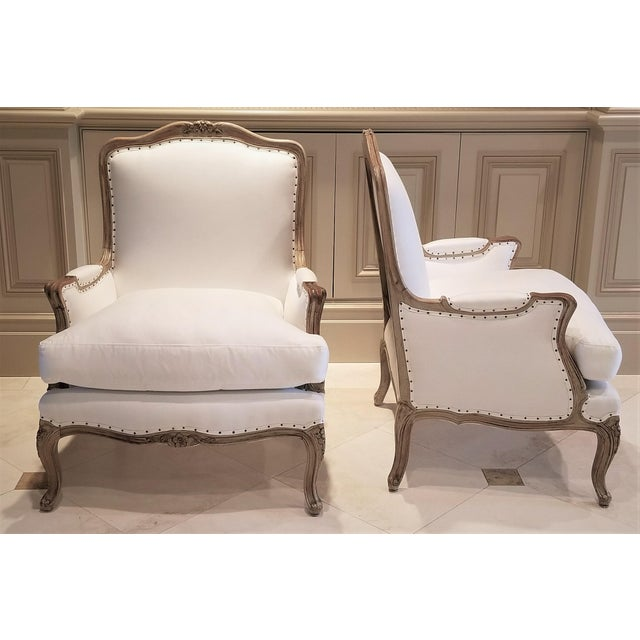 Mid 19th Century 19th C Louis XV Bergeres Pair For Sale - Image 5 of 5
