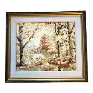 Vintage Original Eggshell Collage Landscape Painting For Sale