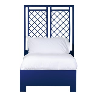 X & Diamond Bed Twin Extra Long - Navy Blue For Sale