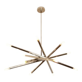 "Blueprint Lighting ""Nest"" Sculptural Polished Nickel Chandelier For Sale"