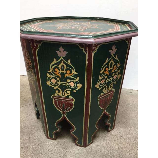 Green Moroccan Hand Painted Table With Moorish Designs For Sale - Image 8 of 12