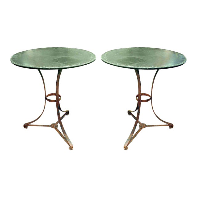One Pair of French Garden Tables With Old Worn Painted Finish For Sale