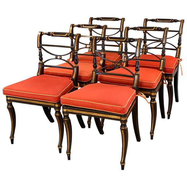 Regency Parcel-Gilt Rosewood-Grained Caned Side Chairs- Set of 6 For Sale - Image 13 of 13