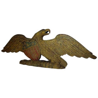 Late 19th Century Antique John Haley Bellamy Carved & Painted Wooden Eagle With Shield For Sale