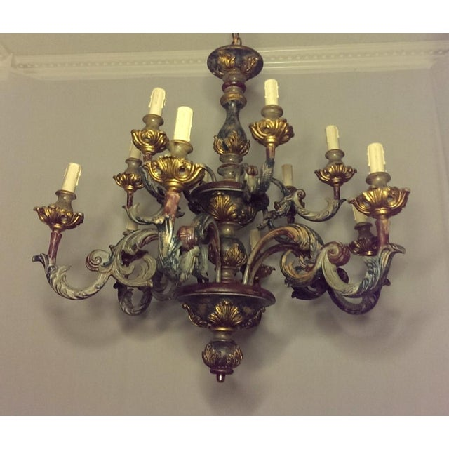 Large Antique Painted/Gilt Gesso & Wood 12-Light Italian Chandelier For Sale In Dallas - Image 6 of 6