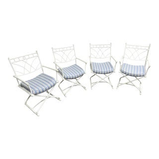 Directoire Steel X Base Arm Chairs- Set of 4 For Sale