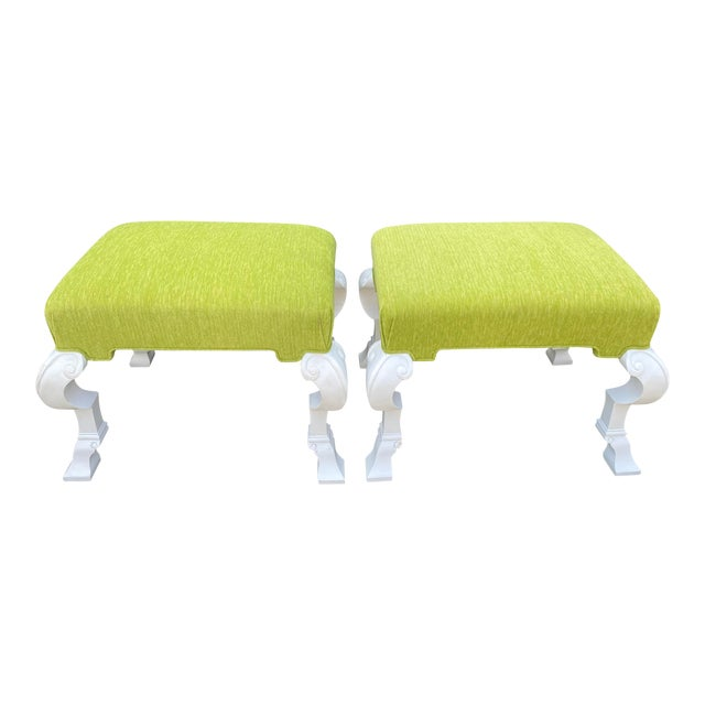 Charles Pollock Hollywood Regency Chartreus Velvet Ottoman Benches - a Pair For Sale