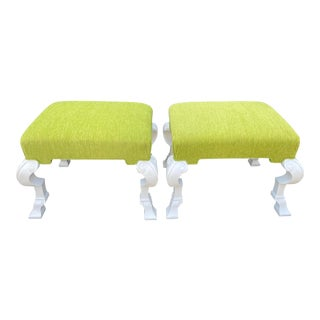 Pair of Charles Pollock Hollywood Regency Chartreus Velvet Ottoman Benches For Sale