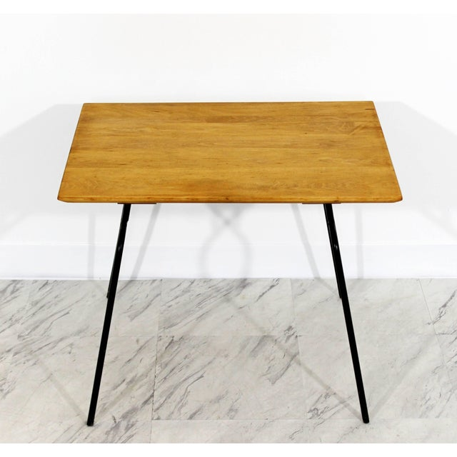 For your consideration is a wonderful side/end or occasional table, with a maple top and iron base, by Paul McCobb Planner...