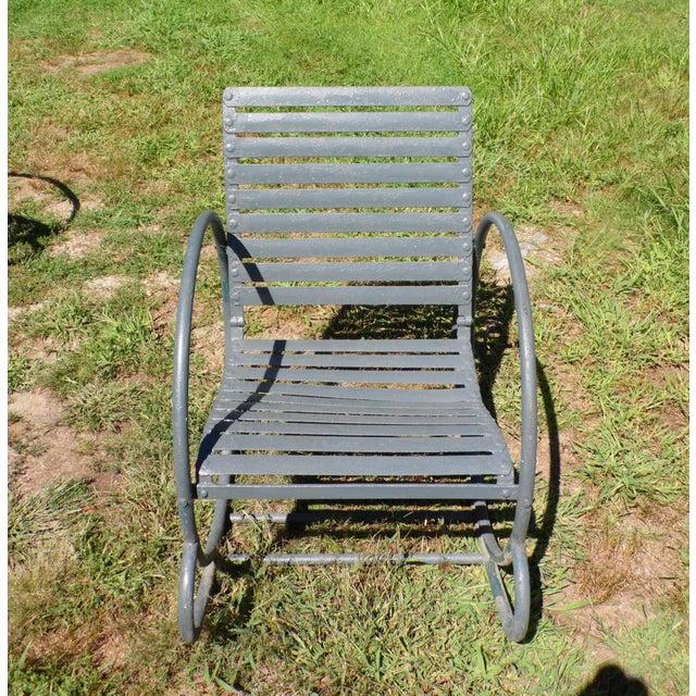 Art Deco Patio Metal Hoop Rocking Chairs - A Pair - Image 9 of 10