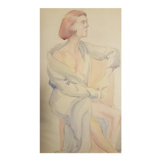 Watercolor Of Seated Woman By Eileen Churm For Sale