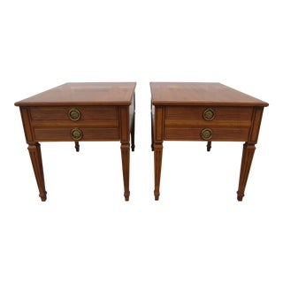 Henredon Fruitwood Side or End Tables With Brass Pulls - a Pair For Sale