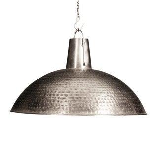 Hammered Nickel Pendant Lantern For Sale