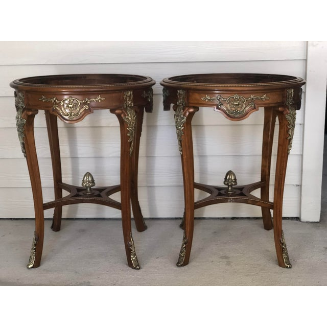 French Ormolu Mounted Side Marble Tables - a Pair For Sale - Image 13 of 13