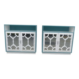 1970s Vintage Parzinger Mirrored Chinese Chippendale Nightstands - A Pair For Sale