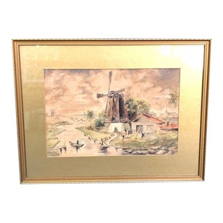 1925 Watercolor Painting by Rjb Sanderson For Sale