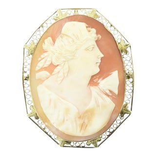 Antique Shell Cameo Portrait Gold Brooch For Sale