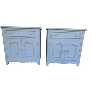 Pair Gray French Provincial Paris Apartment Nightstands Cottage Farmhouse Side Tables French Country Night Tables For Sale