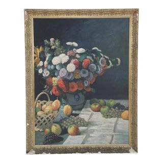 MidCentury Framed Still Life Oil Painting of a Still Life Table Scene For Sale