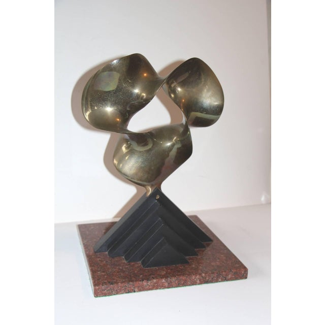 Modern 1989 Fred Schumm Bronze Wood & Marble Sculpture For Sale - Image 3 of 8