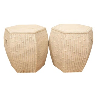 1980s Vintage White Garden Stools- A Pair For Sale
