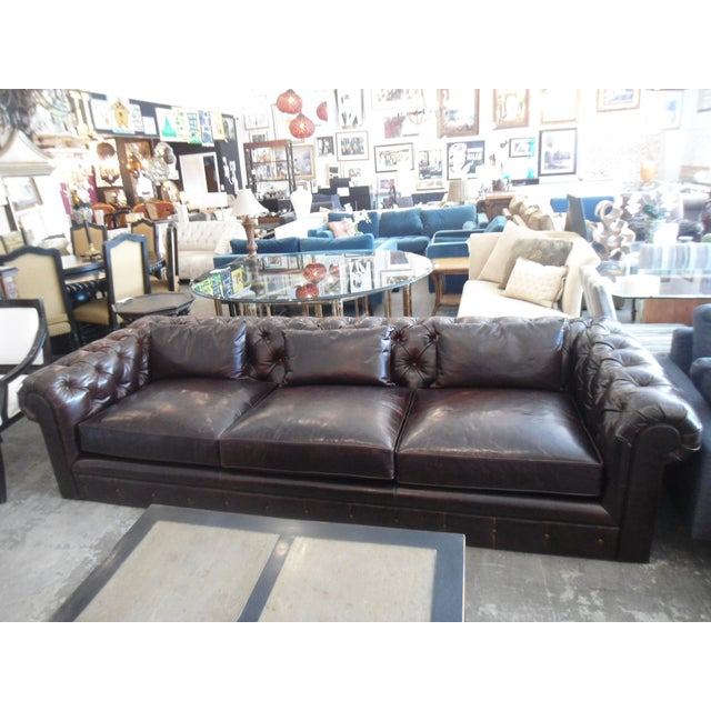 English Traditional Kravet Chesterfield 3-Seat Sofa, Brown Tufted Leather For Sale - Image 3 of 11