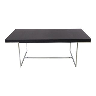 Athos Dining Table by Paolo Piva for B and B Italia Chrome and Dark Brown Oak For Sale