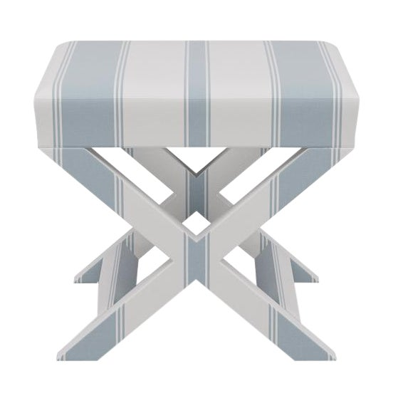X Bench in French Blue Clarence Stripe For Sale