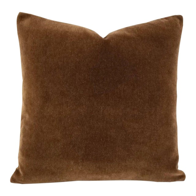 Mohair Velvet Dark Brown Pillow Cover For Sale