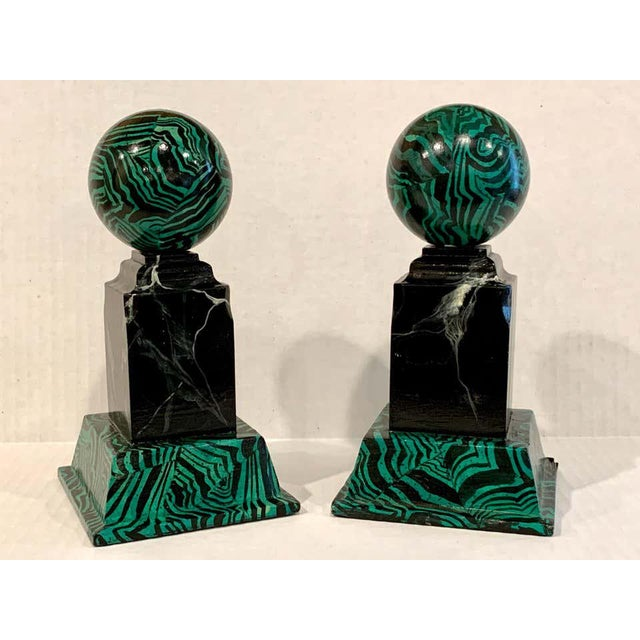 Neoclassical Bob Christian 1987 Faux Malcihite Orbs - a Pair For Sale - Image 3 of 13
