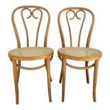 Image of Vintage Mid Century Bentwood and Cane Bistro Chairs- a Pair For Sale