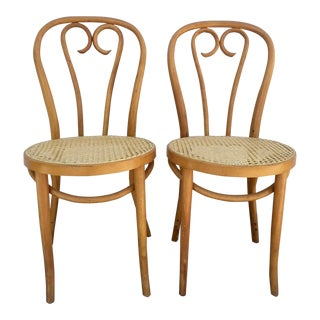 Vintage Mid Century Bentwood and Cane Bistro Chairs- a Pair For Sale