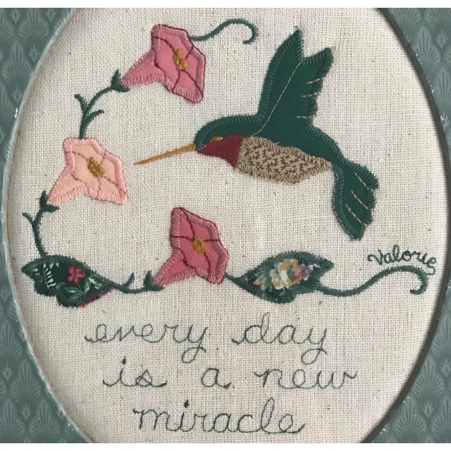 Cottage Every Day Is a New Miracle Wool Applique Folk Art For Sale - Image 3 of 4