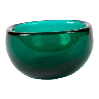 Small Teal Murano Glass Dish by Venini For Sale